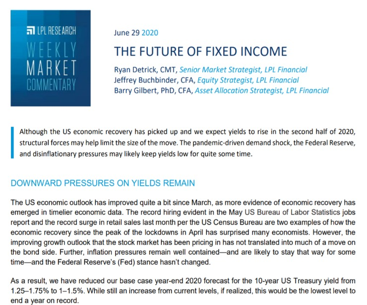The Future of Fixed Income | Weekly Market Commentary | June 29, 2020